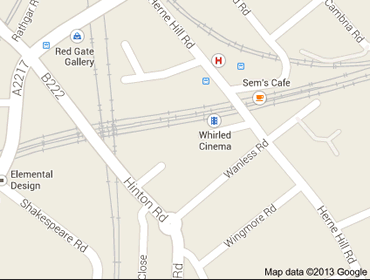 Map of where to find Whirled Cinema